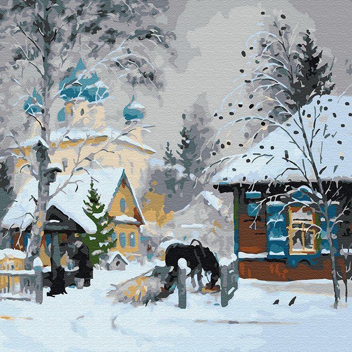 Картина по номерам Зима в деревне 30*30см
