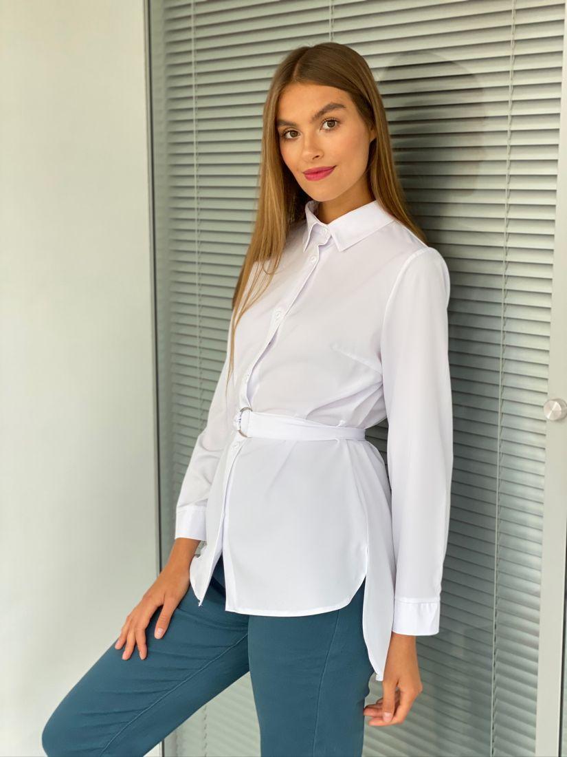 s2354 Удлинённая  рубашка белая