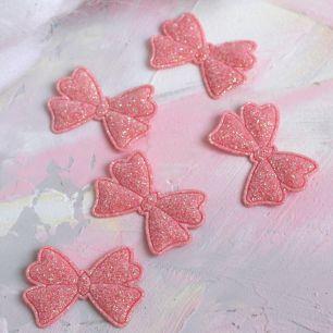 Кукольный аксессуар Бантики розовые с блестками 5 шт