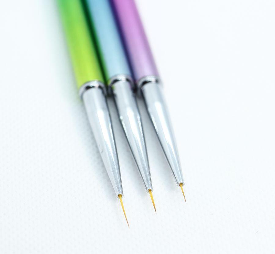 Кисть для дизайнов BEAUTY Artists 1, 2, 3  набор 3 шт цветные ручки