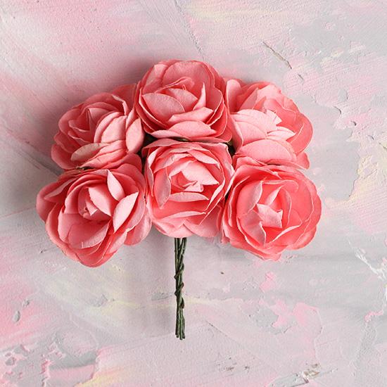 Бумажные цветы розовые - Кукольная миниатюра 3 см