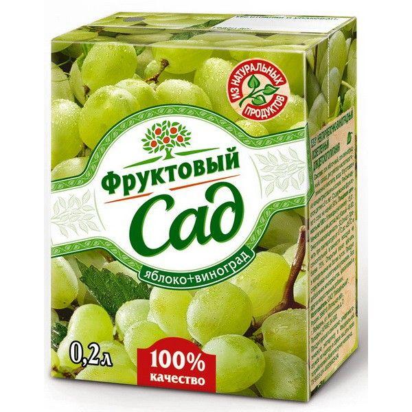 Сок Фруктовый Сад 0,2л Яблоко/Виноград
