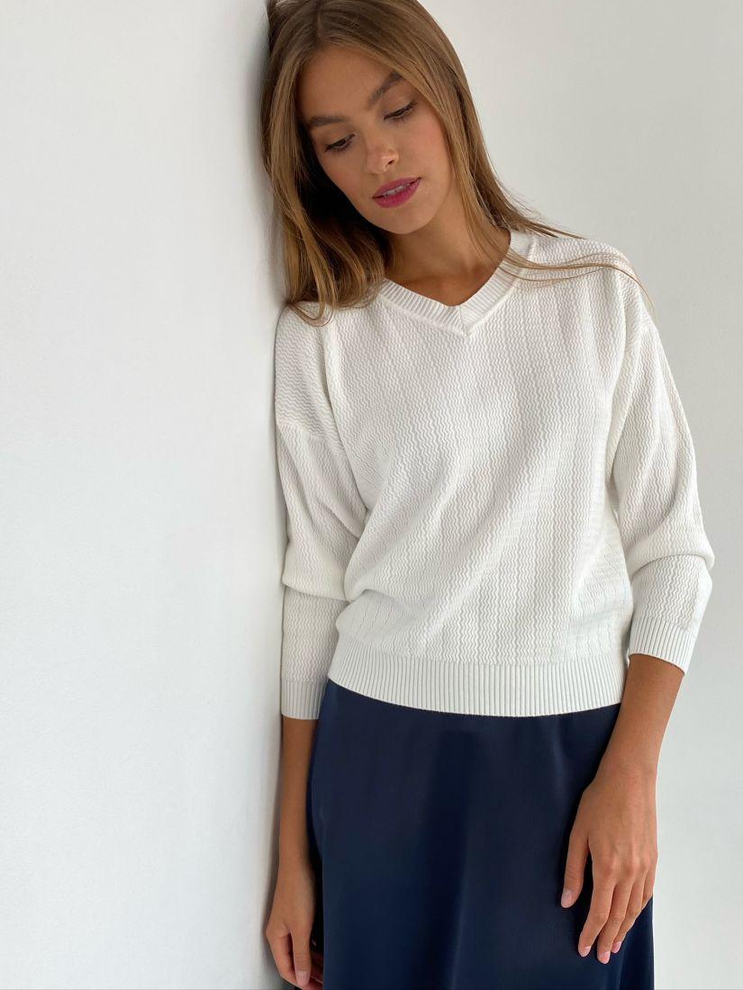 s2397 Пуловер ажурный белый