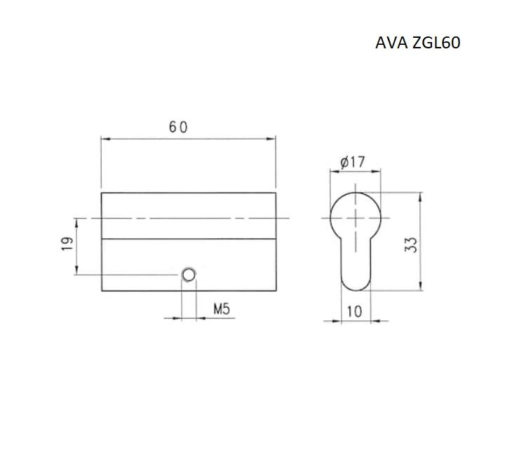 Цилиндр глухой AVA ZGL60 вместо штатной личинки замка