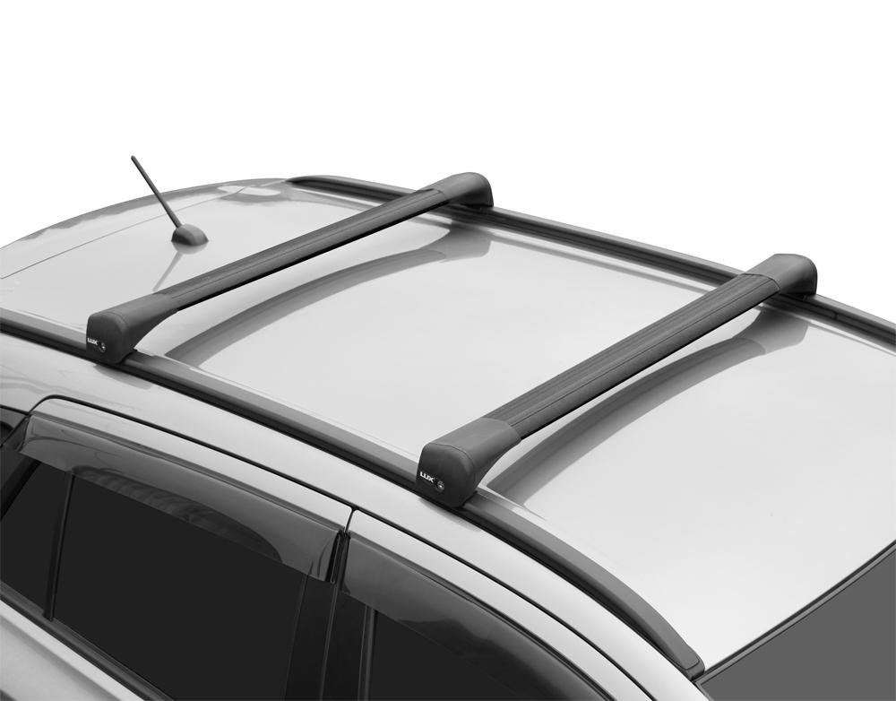 Багажник на крышу Geely Atlas 2017-..., Lux Bridge, крыловидные дуги (черный цвет)