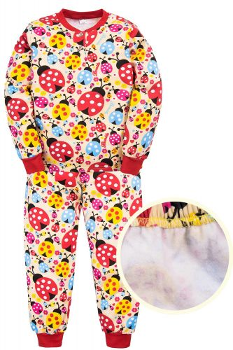 """Пижама с начесом для девочек 7-10 лет Bonito kids """"Божья коровка"""" бежевая"""