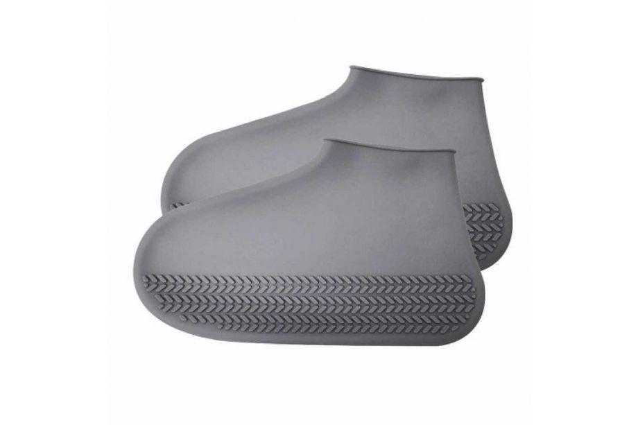 Многоразовые бахилы от дождя Waterproof Silicone Shoe Cover (Серый)