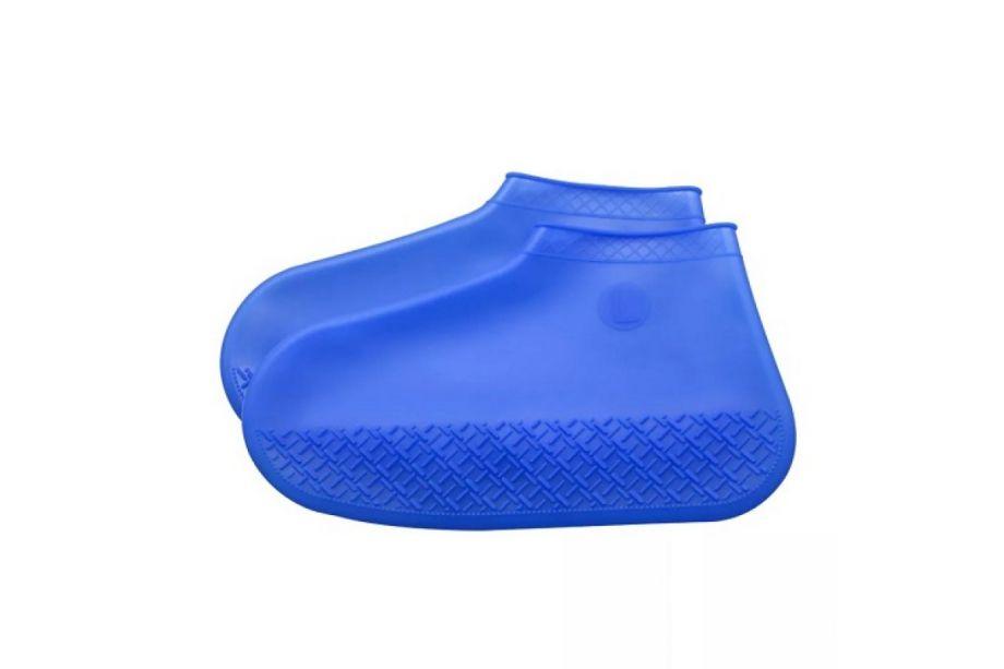 Многоразовые бахилы от дождя Waterproof Silicone Shoe Cover (Синий)