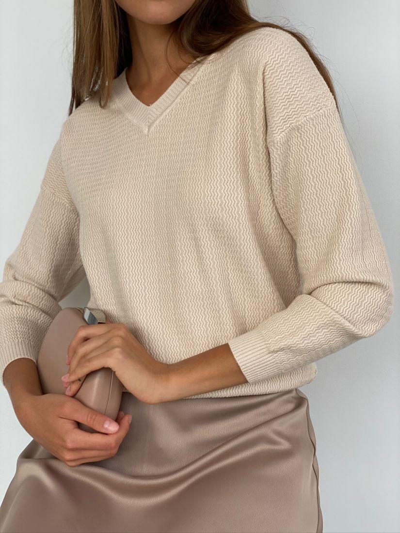 s2415 Пуловер с зигзагами бежевый