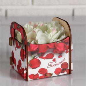 """Кашпо деревянное подарочное Рокси Смит """"Любимой. Лепестки роз"""", коробка с наклейкой 5165131"""