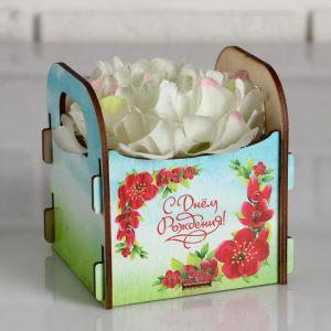 """Кашпо деревянное подарочное Рокси Смит """"С Днём рождения! Летнее утро"""", коробка с наклейкой 5165136"""