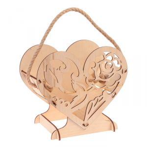 """Кашпо деревянное уникальное """"Сердце на двоих"""", с декором, ручка верёвка, натуральный 3638530"""