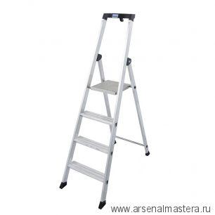 Односторонняя алюминиевая лестница - стремянка Krause SOLIDO, развальцованные 5 ступеней AM126641