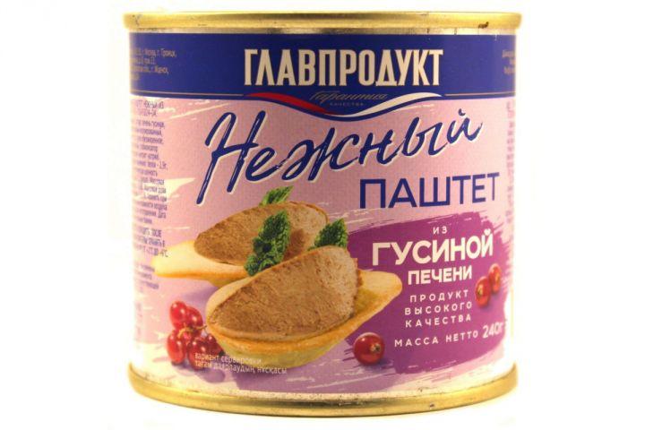 Паштет Главпродукт 240г Нежный печеночный Печень гусиная ж/б
