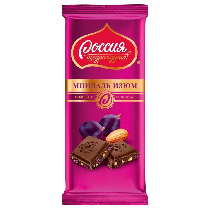 Шоколад Россия темный миндаль, изюм 90г