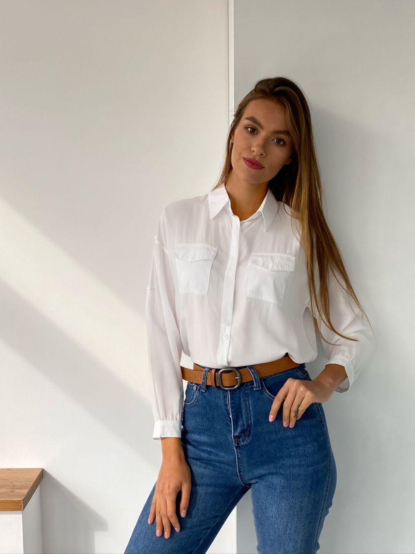 s2432 Рубашка с клапанами белая