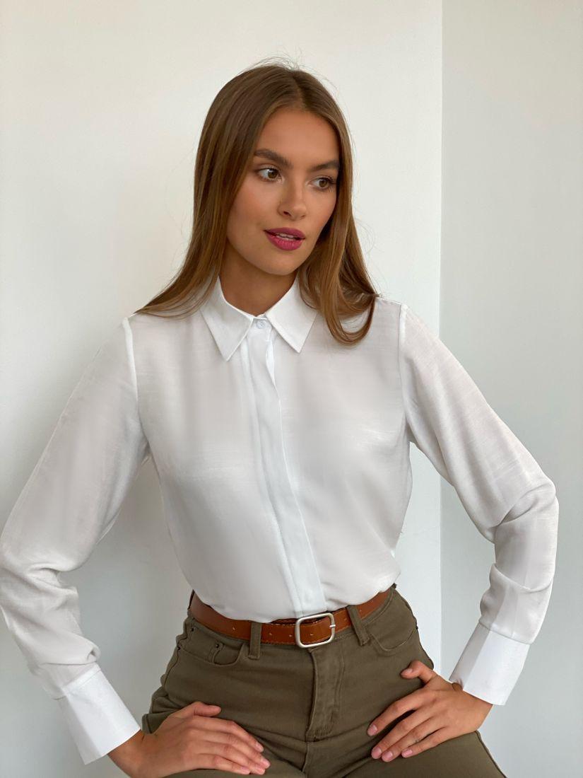 s2435 Рубашка с супатной застежкой белая