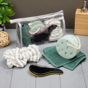 Набор для бани и сауны в косметичке, цв. зеленый, 4 предмета 4840230