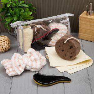 Набор для бани и сауны в косметичке, цв. коричневый, 4 предмета 4840229