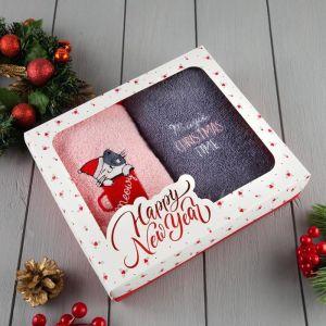 "Набор полотенец ""Christmas time"" 30х60 см-2шт, 100% хлопок 340 г/м2 5003916"