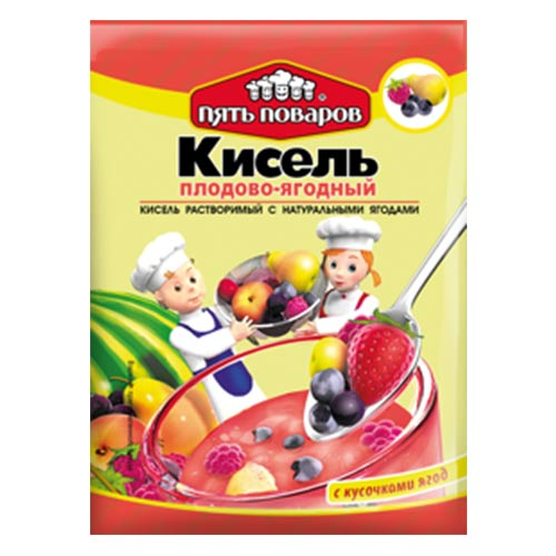 Кисель плодово-ягодный с натуральными ягодами 90г 5 поваров