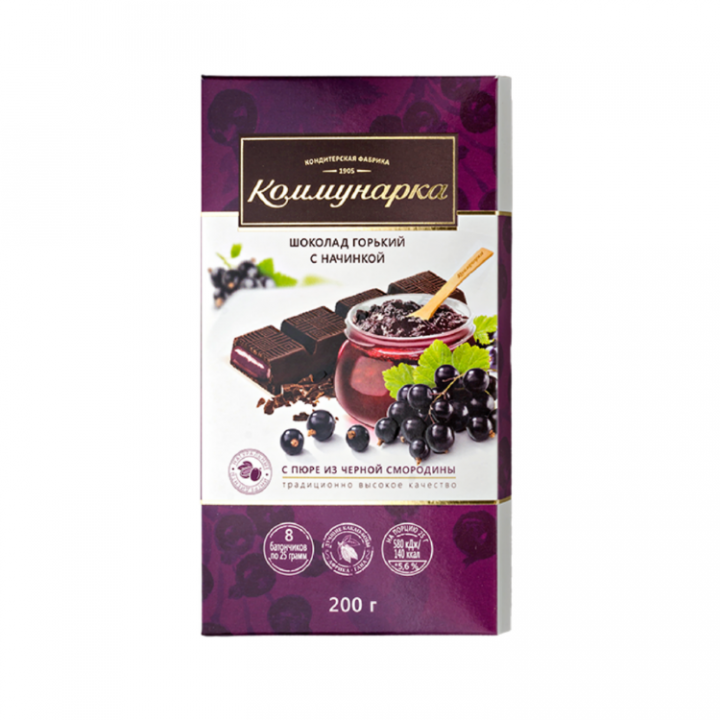 Шоколад Горький с пюре из из черной смородины Беларусь 200г