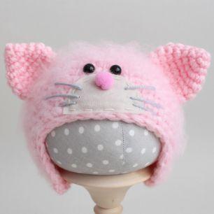 Вязаная шапочка Котик с мордочкой пушистый Розовый
