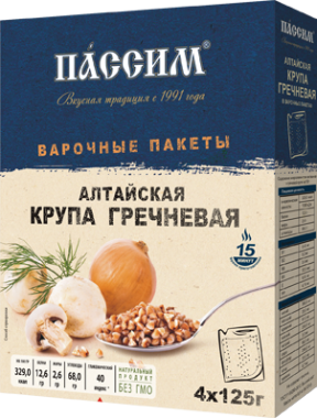 Крупа Пассим Гречневая Алтайская в/п (4*125г) 500г