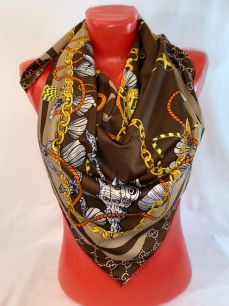 Шелковый платок Gucci (шоколад). арт.090