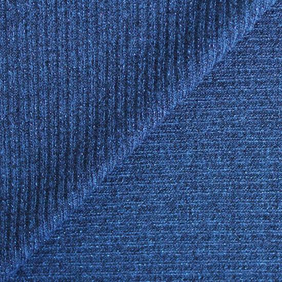 Лоскут трикотажной ткани - Лапша синяя с люрексом 50х40