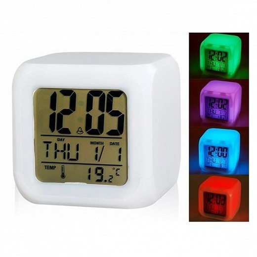 Будильник Куб с разноцветной подсветкой