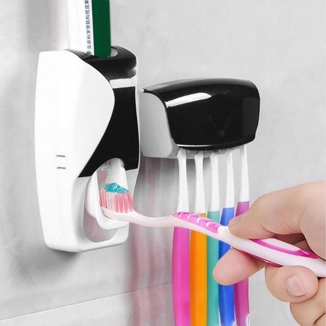 Автоматический дозатор зубной пасты + держатель для щёток