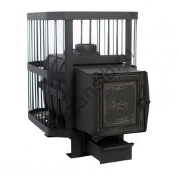 Печь банная чугунная «СИБИРЬ-18» универсальная чугунная дверка/стекло (Сетка)