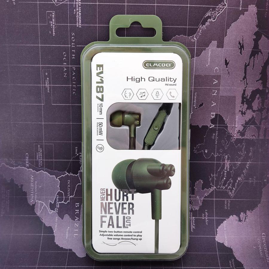 ELMCOEI EV-187 Зеленые наушники-гарнитура