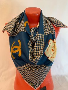 Шелковый платок Chanel с рогожкой, арт.114