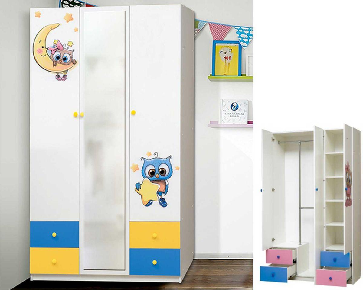 """Шкаф 3-х дверный с ящиками и фотопечатью """"Совята"""" 3.2"""