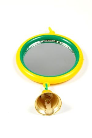 Зеркало Дарэлл  для птиц большое с колокольчиком 100*100мм