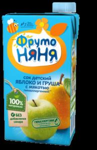 ДП Сок ФРУТОНЯНЯ 500мл Яблоко/груша с мякотью