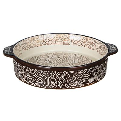 MILLIMI Форма для запекания и сервировки круглая с ручками, керамика, 29,5х25х6см, шоколад