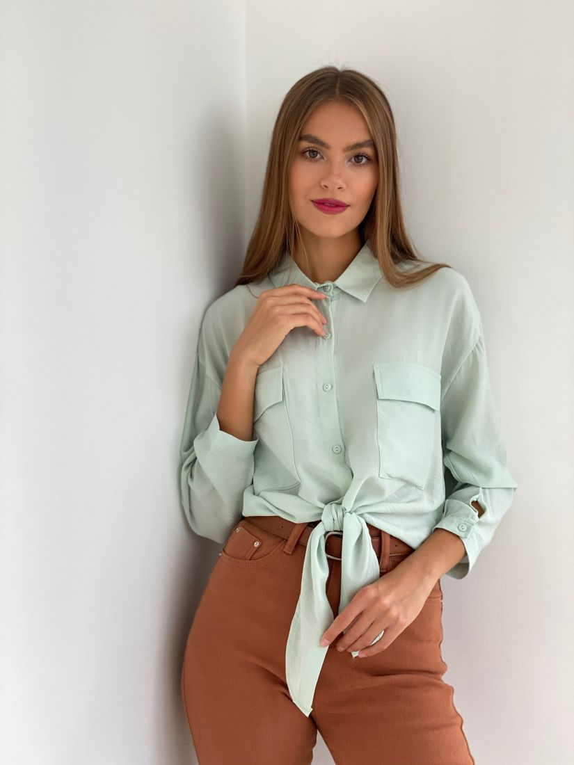 "s2495 Рубашка с завязками в цвете ""smoke green"""