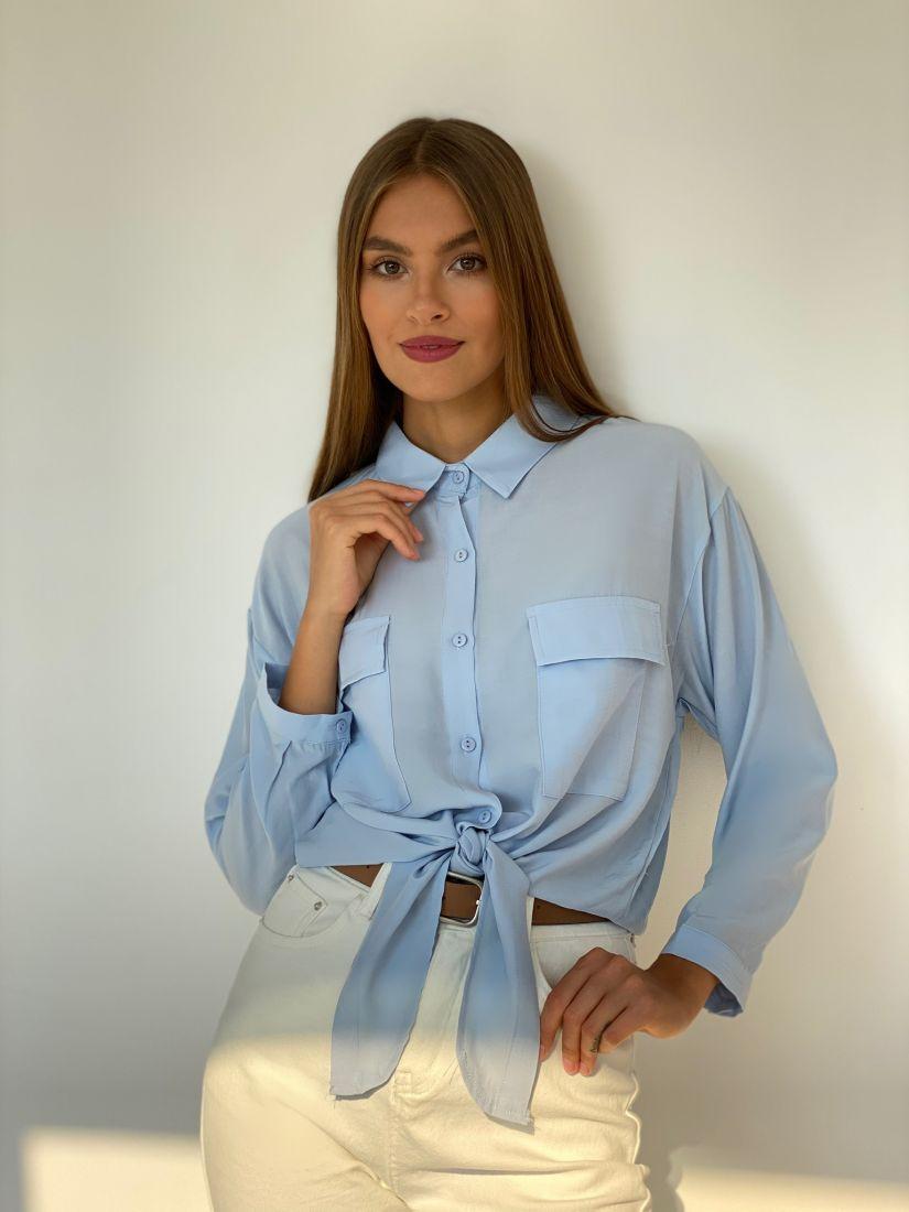 s2507 Рубашка с завязками голубая