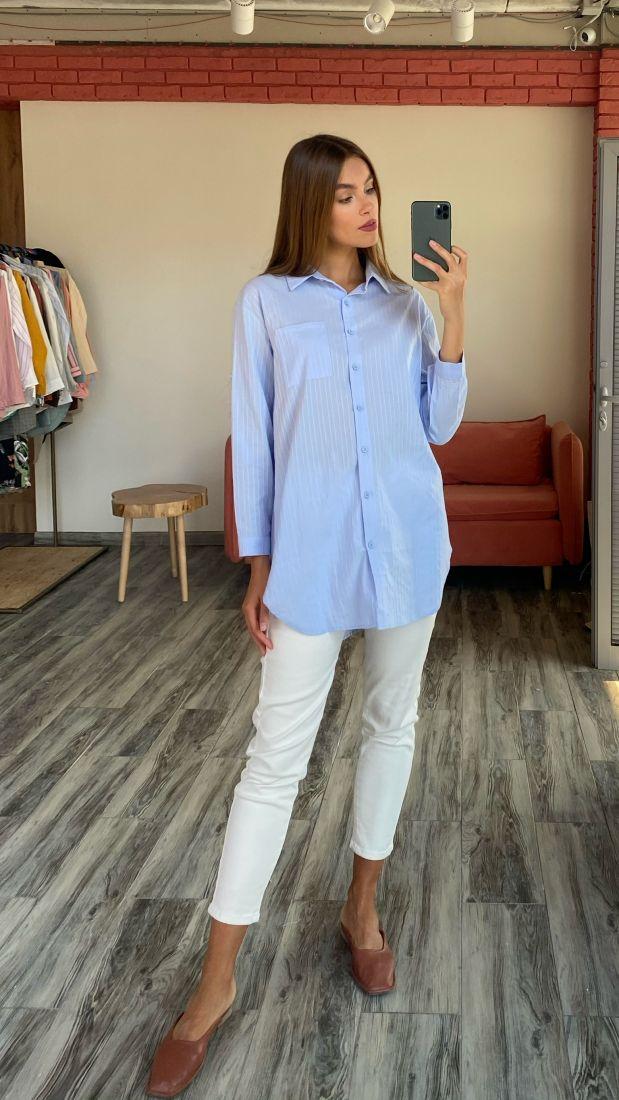 s2508 Рубашка удлинённая голубая