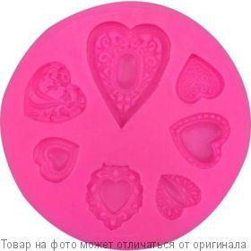 Форма силик. д/выпечки Сердечки. (роз) ATMIX, шт