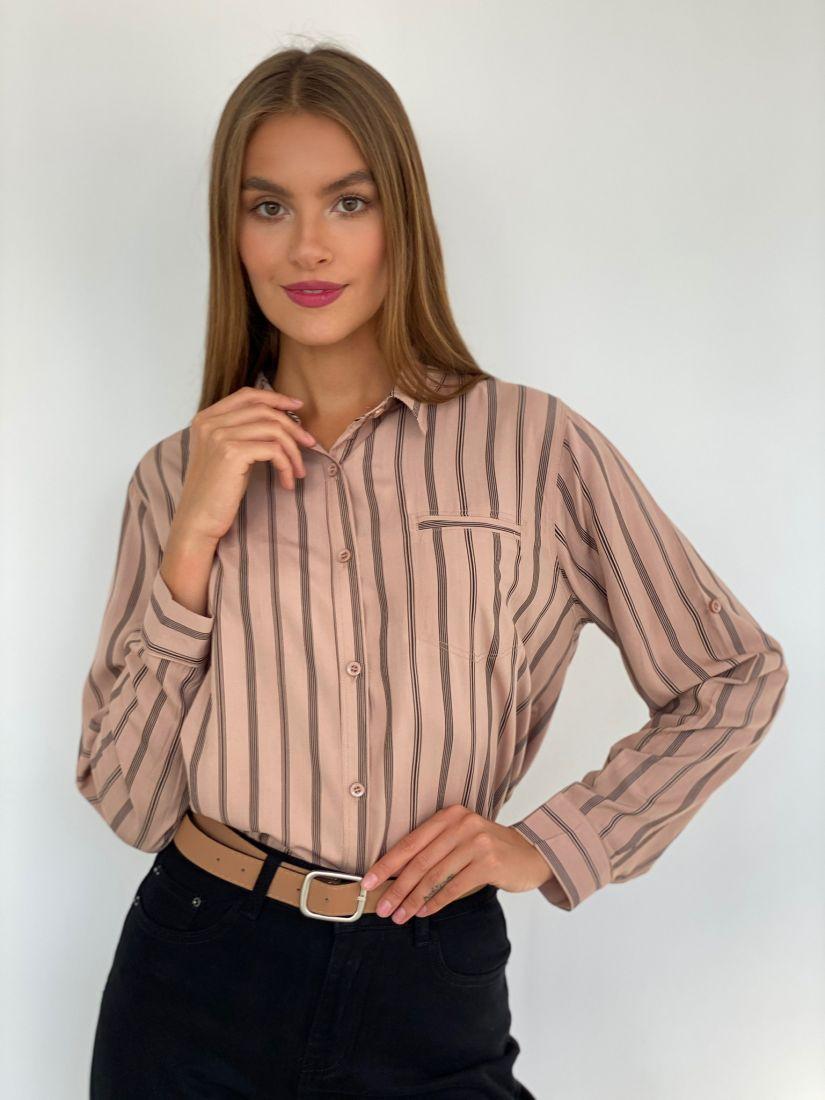 "s2538 Рубашка в цвете ""какао"" в полоску"