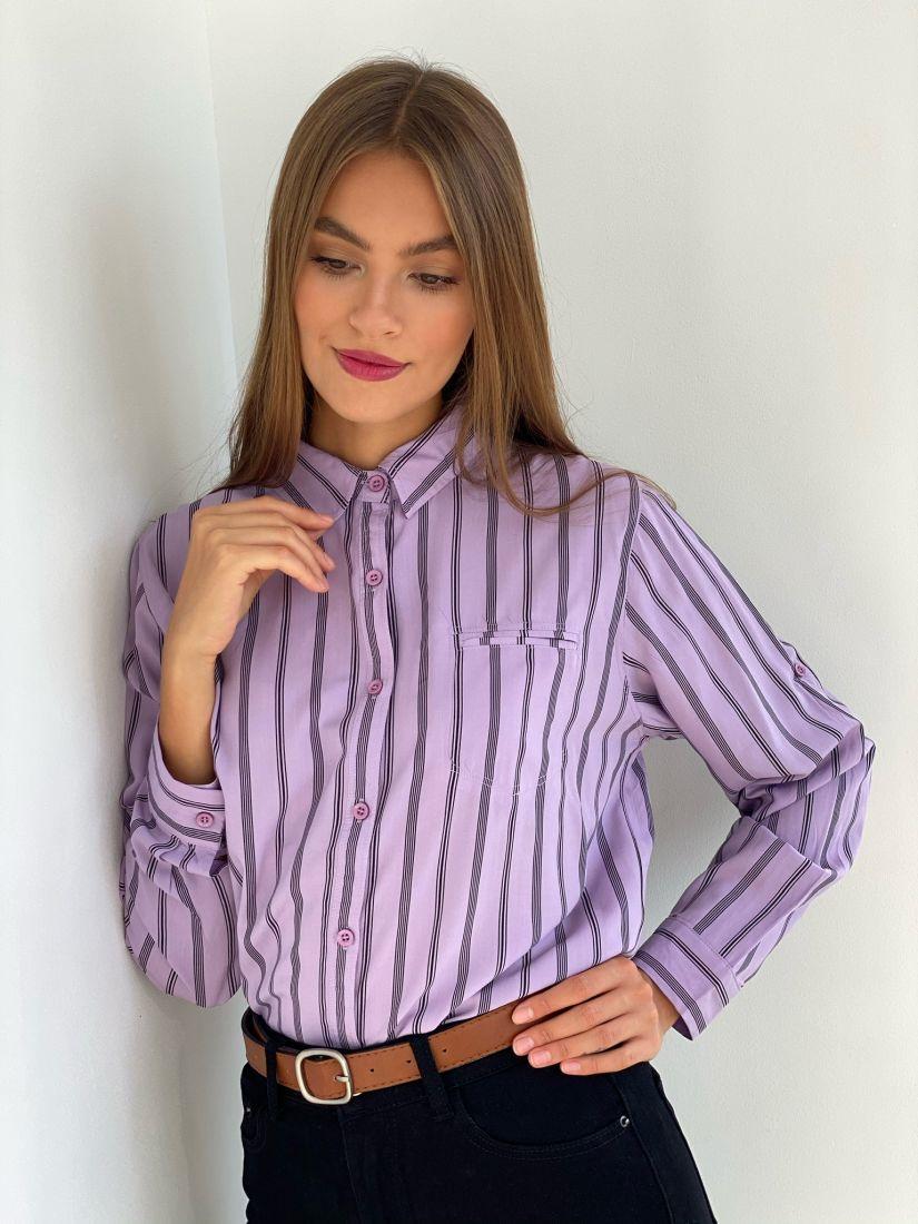 s2539 Рубашка лавандовая в полоску