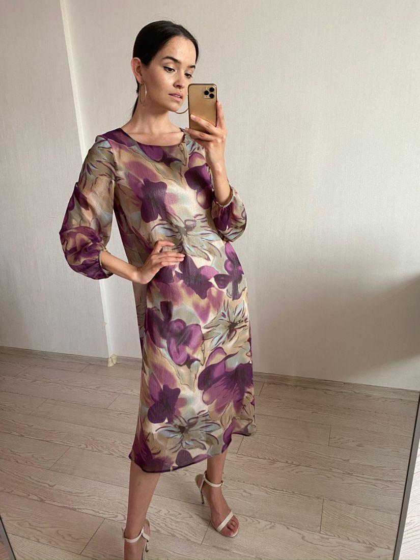 s2541 Осеннее платье из шифона фиолетовое