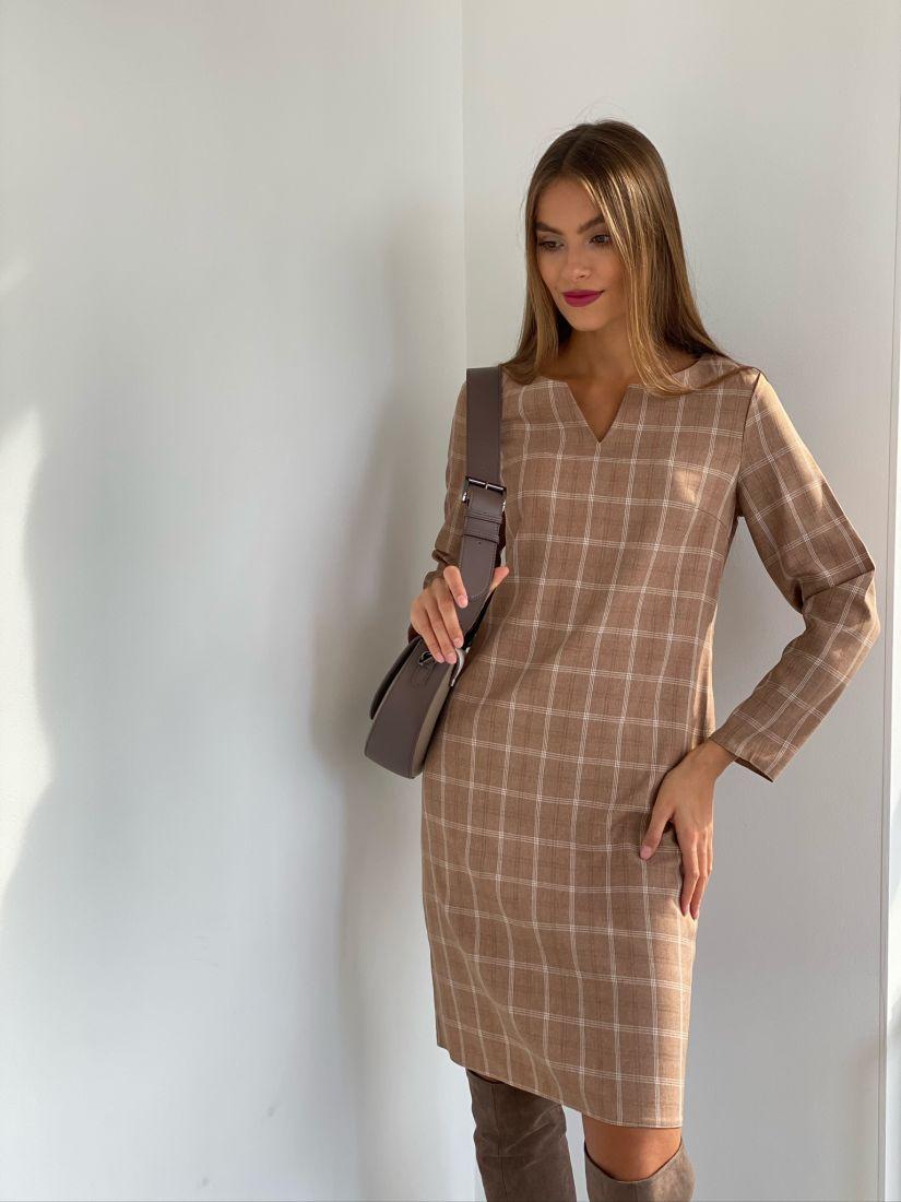 s2543 Платье в клетку коричневое