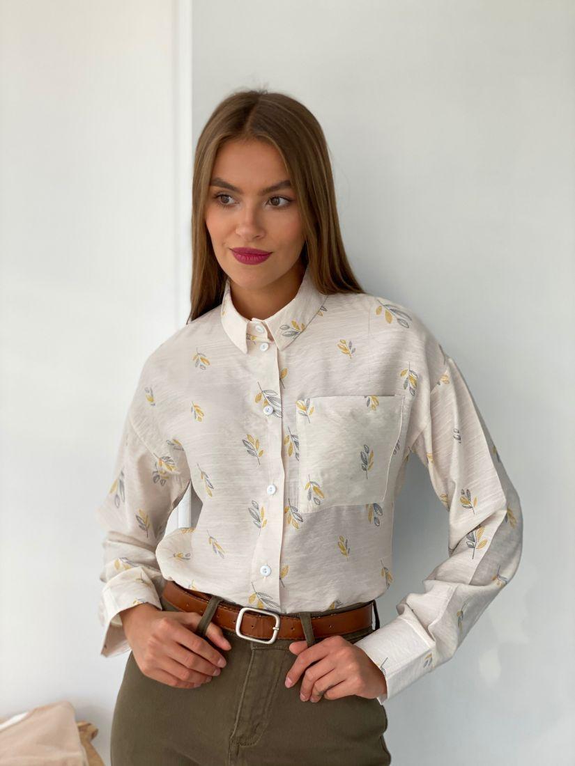 s2549 Рубашка свободного кроя айвори с веточками