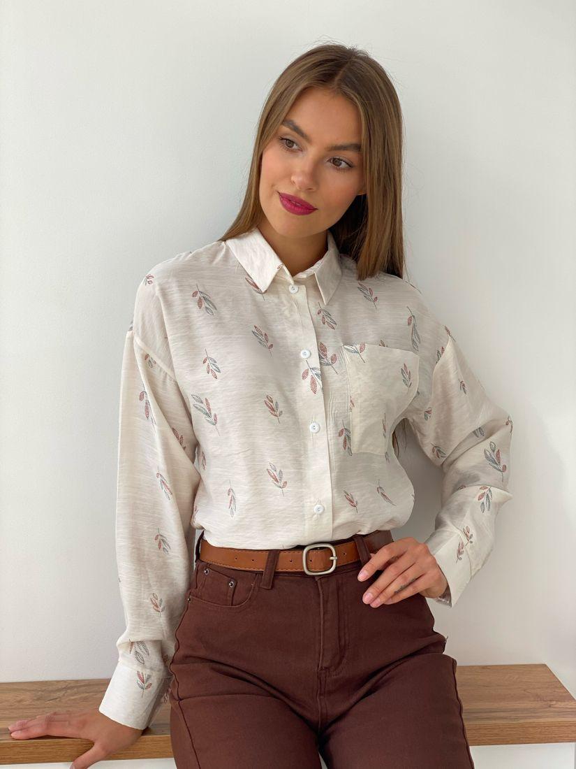 s2550 Рубашка свободного кроя Айвори с веточками