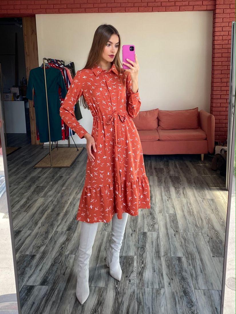 s2555 Платье-рубашка терракотовое с птичками
